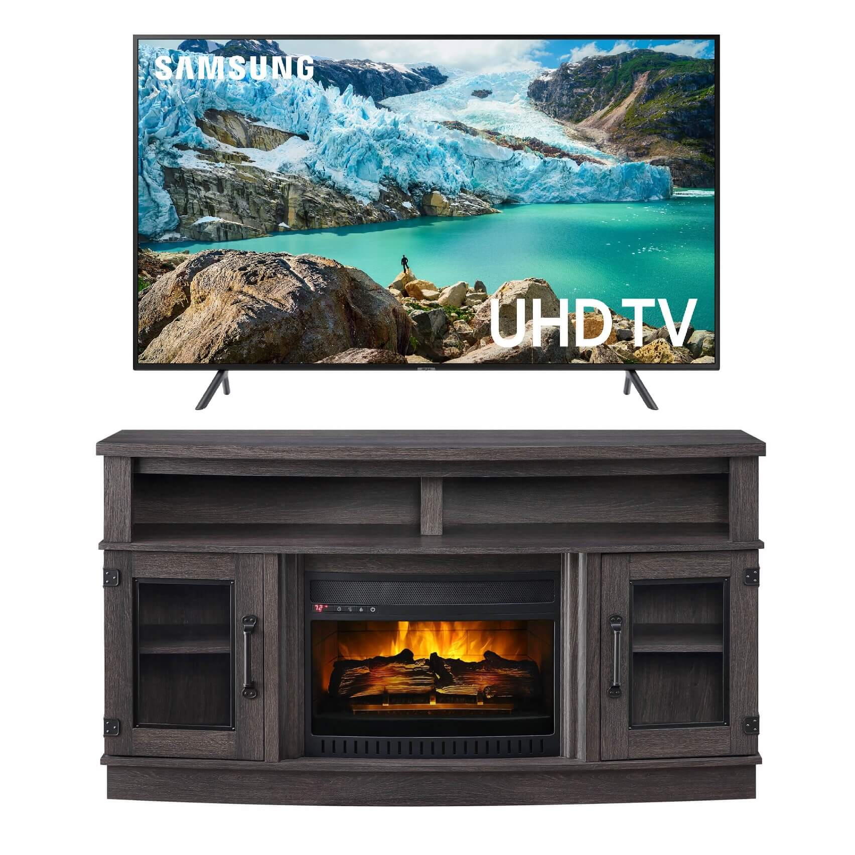 Rent To Own Samsung Electronics 65 Class Smart 4k Uhd Tv With 60 Fireplace Tv Console At Aaron S Today