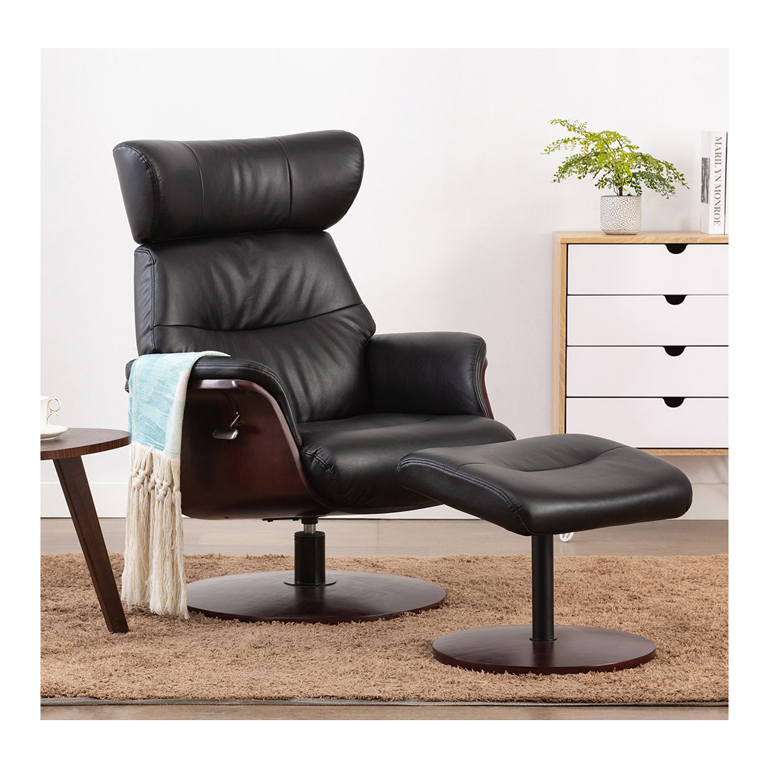 Stockholm Leather Recliner & Ottoman - Black