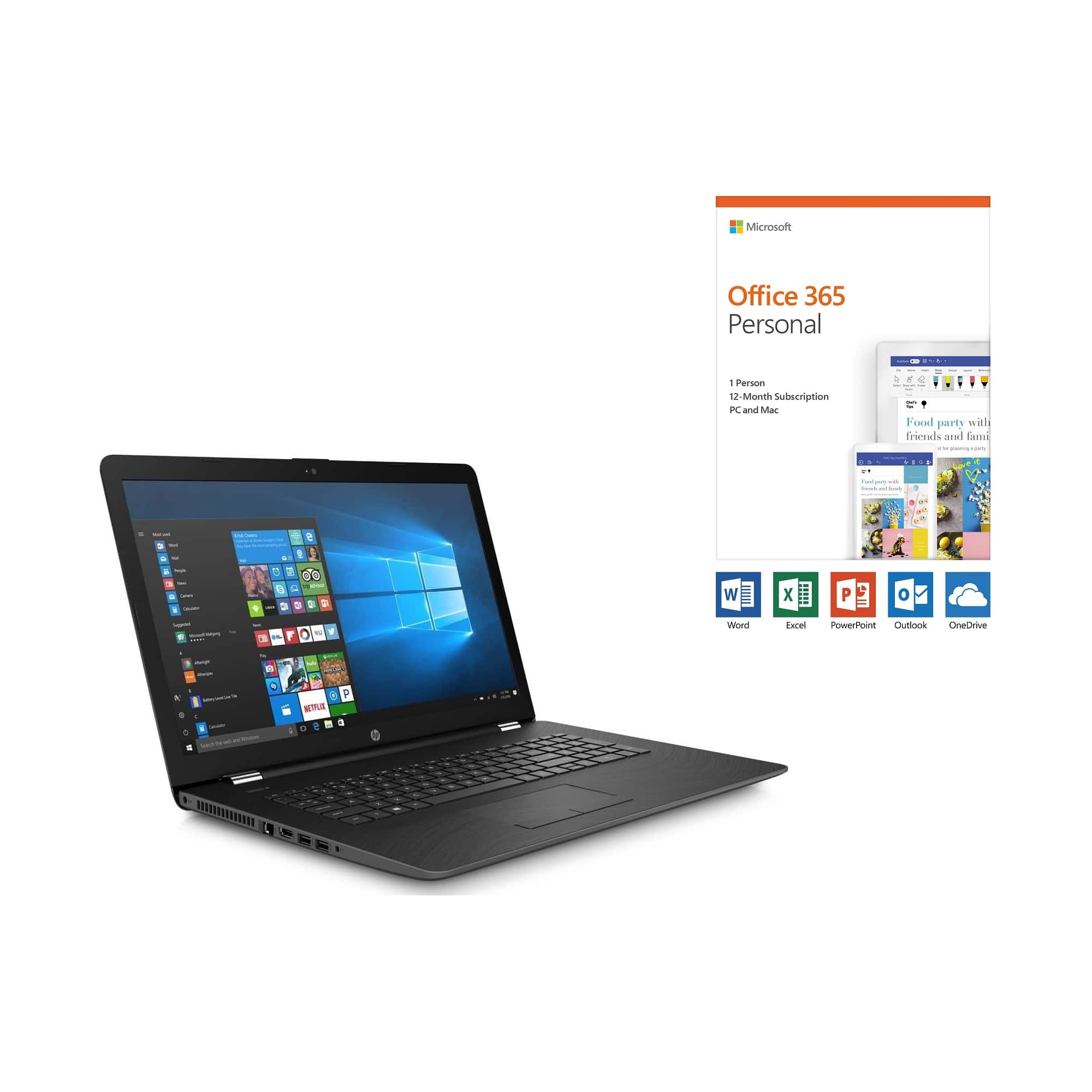 """17.3"""" Laptop with Microsoft Office 365 Personal and Total Defense Internet Security"""